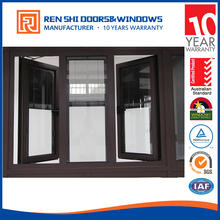 Thermal broken Aluminium side hung casement window with blinds inside