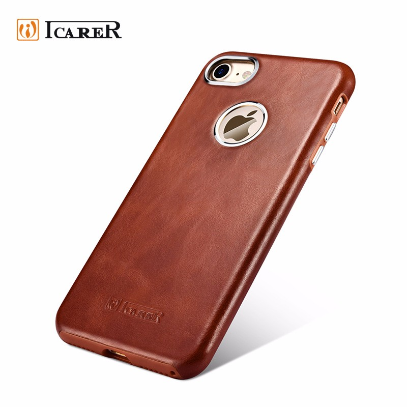 ICARER Stylish Genuine Leather Back Cover Protective Bumper Case for iPhone 7 7 Plus