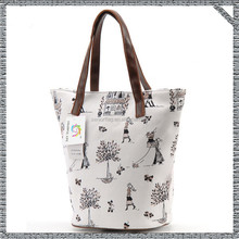 High quality canvas bag canvas tote bag with leather trim from China supplier