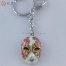 Handmade Mask Face Keychain Keyring /Metal Mask Keychains for Gift