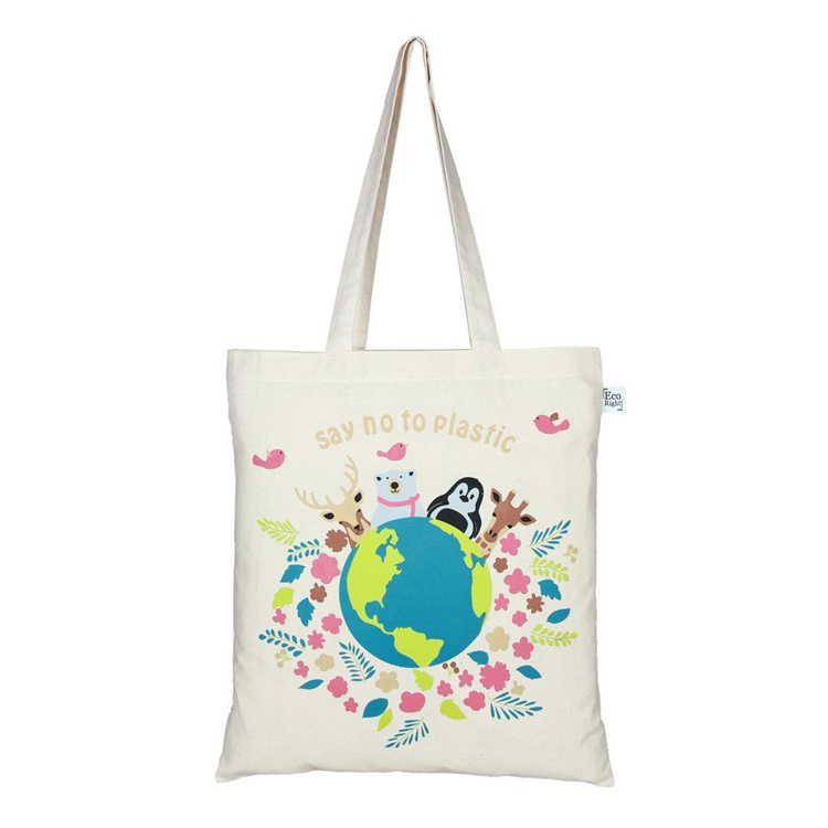 2018 Peace Shopping Cloth Printing Folding Foldable Canvas Travel Tote Cotton Bag