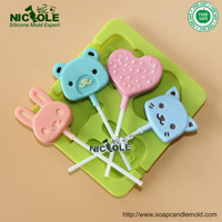 B0234 Cartoon Animal Silicone Popsicle Mold Rubber Mold