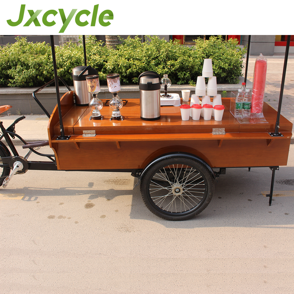 CE proved Wooden and iron holder bike food cart coffee tricycle