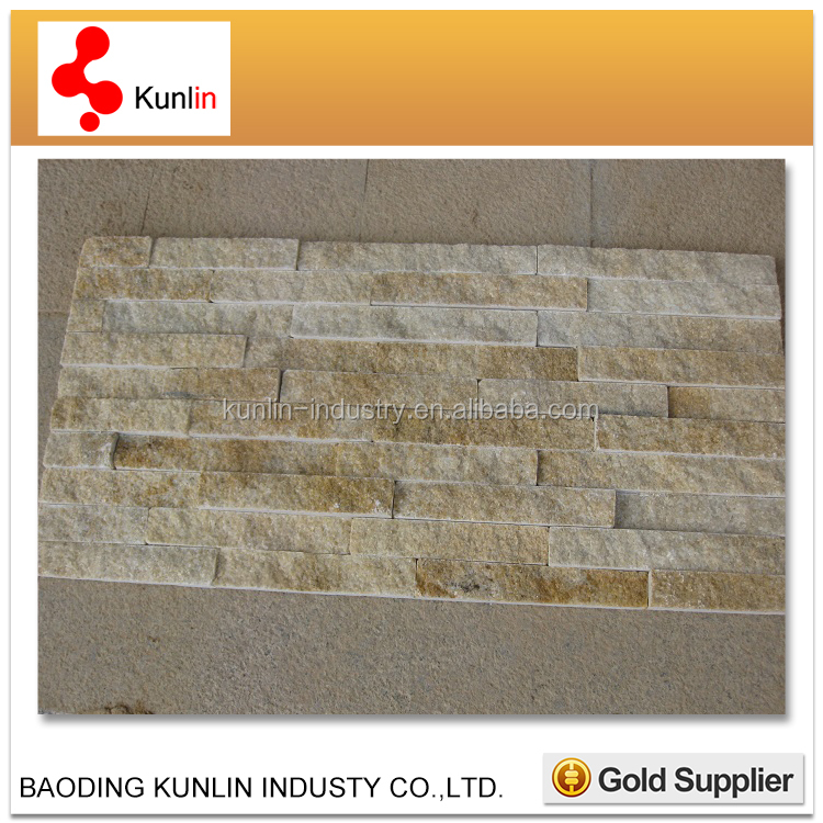 Quartzite Culture Stone Ledge Stone/Golden White Quartzite stone wall Tile