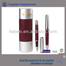 High Quality Business Gift Set Brown PU Leather Metal Pen With Box Set