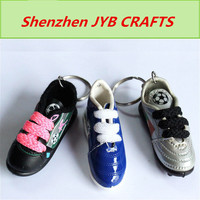 low price wholesale type mini leather pvc shoe keychain