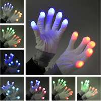 7 Mode Rave Light Finger Lighting Flashing Glow Mittens LED\ Hand Gloves