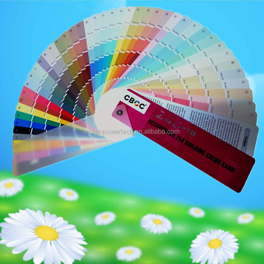 Color chart / colour code / fandeck card with complete specifications for decorative application