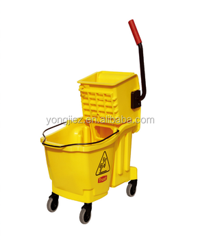 Plastic mop bucket with side press wringer