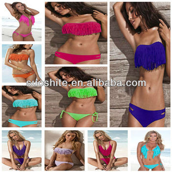 Hot Sale Padded Fringe Bandeau Sexy Swimwear Women Swimsuit