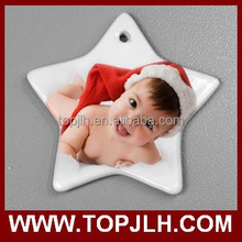 personalized white porcelain christmas ornament sublimation blank christmas ornament