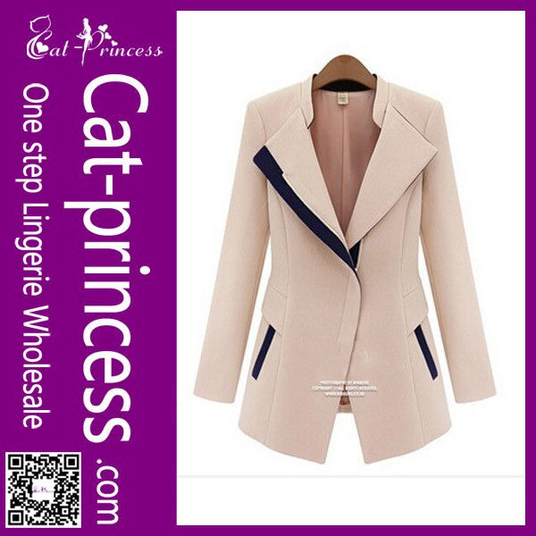 Latest new design black and white winter ladies office wear