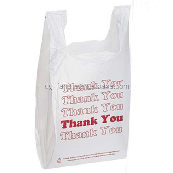 China Manufacturing wholesale HDPE cheap printed plastic thank you t shirt bag