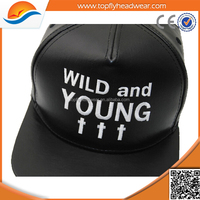 Wholesale blank plain PU leather snapback caps/custom made snapback hats/wholseale faux leather snapback cap