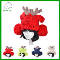 hand crocheted elk christmas antler ear flap winter knitted hat with pom poms