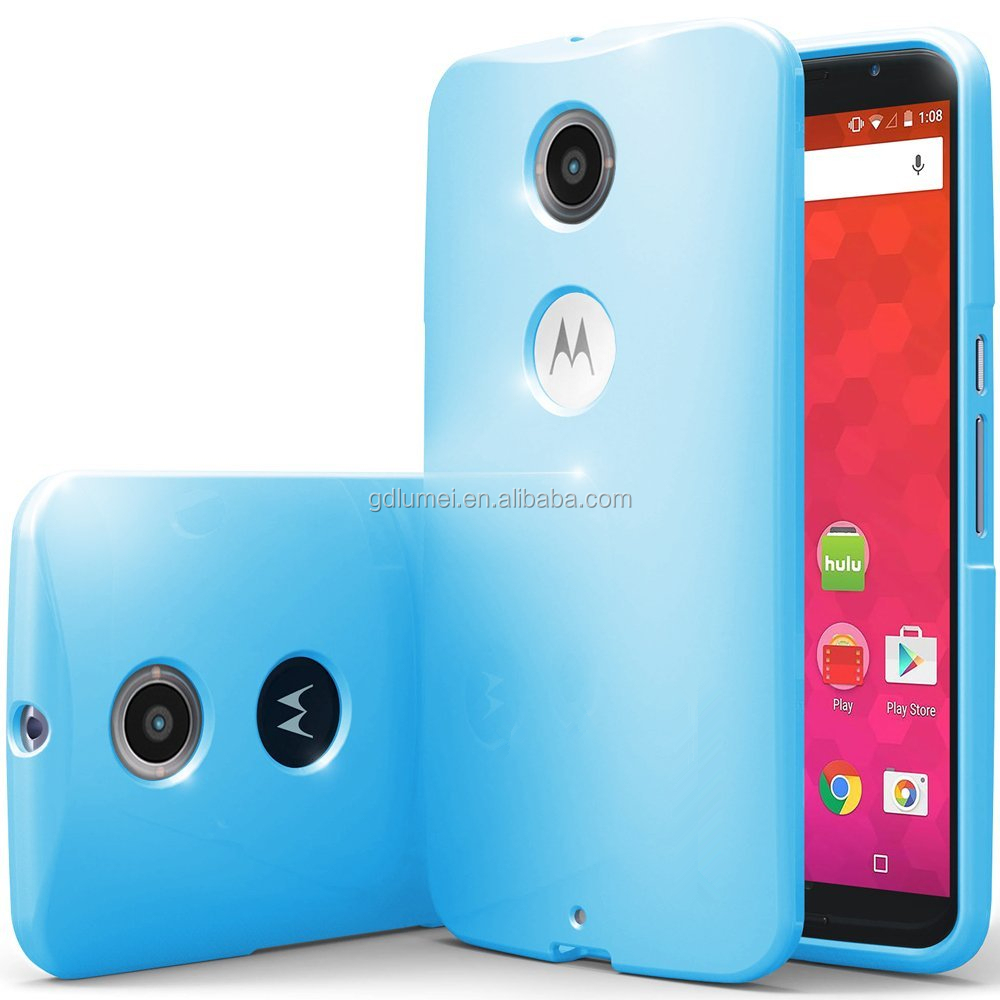 Colorful glossy slim flexible TPU gel silicone shockproof shell case cover for Motorola Nexus 6