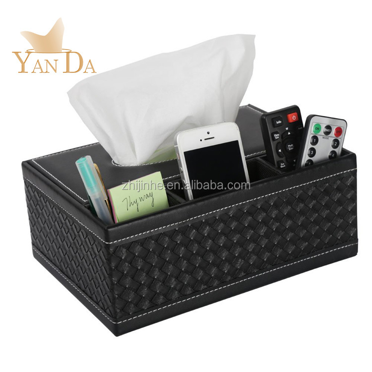Multi-Functional Creative PU Leather Tissue Box Holder and Pen Pencil Remote Control Phone Holder for Home Office Desk