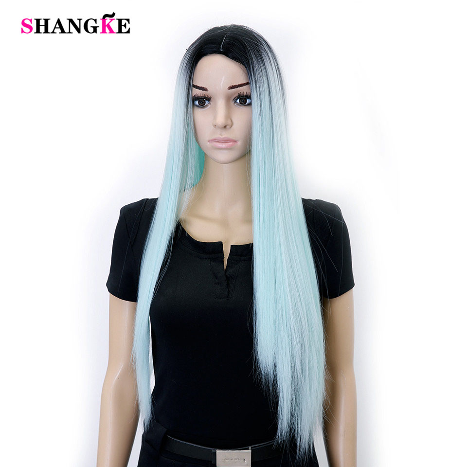 shangke Ombre Wig Black to Mint Green 28inch Heat Resistant Synthetic Hair Long Straight Wigs For Black Women's