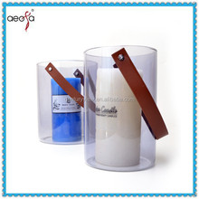 New Style leather handle heat resistant hand made glass lantern hanging glass candle holder