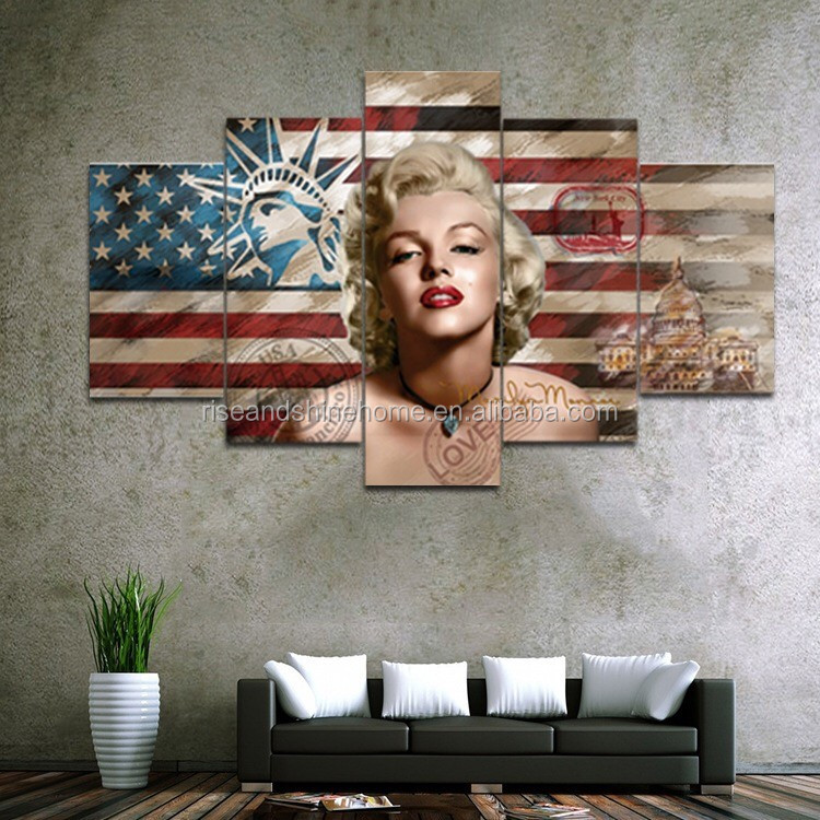 Wholesale modern handpainted woman Marilyn Monroe decorative oil painting on canvas 5pcs/set for living room
