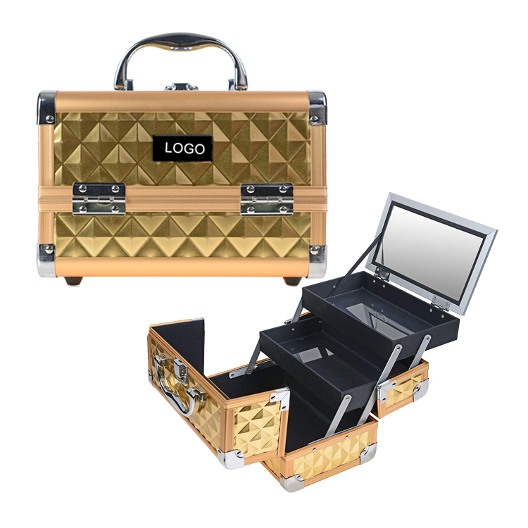 Golden Color Professional Portable Aluminum Mini Makeup Train Case with Mirror