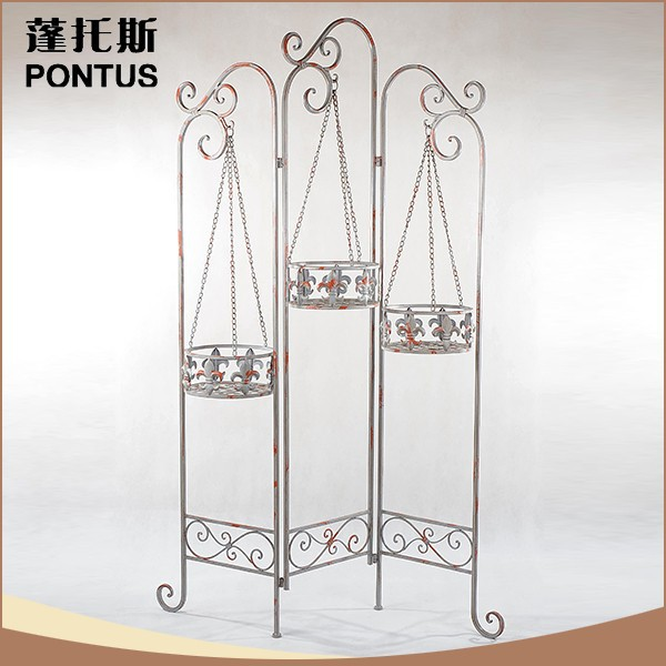 Luxury indoor decoration tall hanging antique wrought iron plant stand