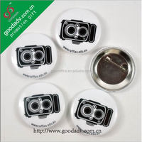 promotional gifts round black camera design tinplate custom button badge