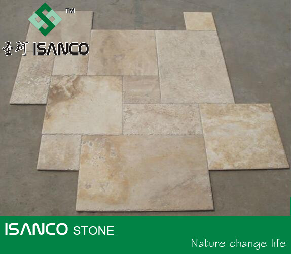 Beige Travertine Tiles Classic French Random Travertine Tiles for Flooring