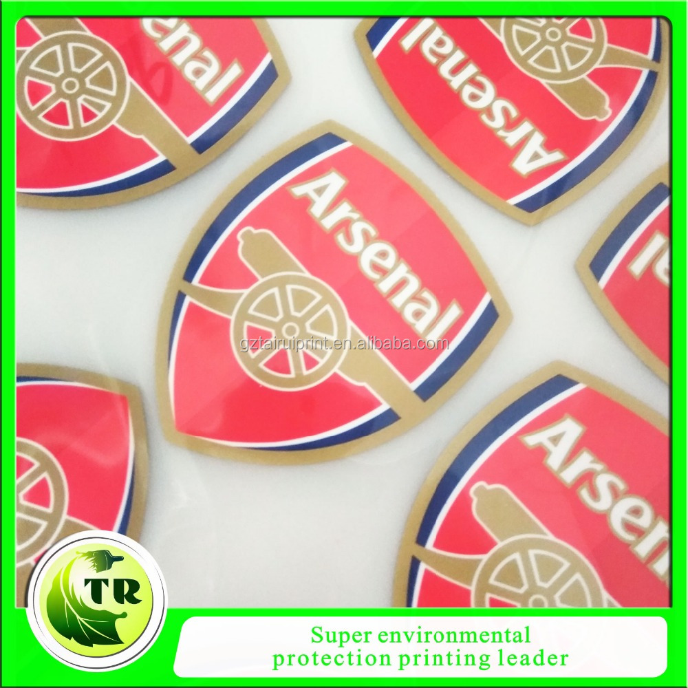 heat press silicone logo badges for Arsenal club jersey