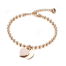 Wholesale Price Brand Double Heart Shaped Charm 316 Stainess Steel Rose Gold Plated Bracelet for Women's Hearth