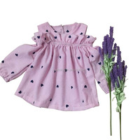 Wholesale Baby Girls Long Sleeve Seersucker Dresses Party Wear Children Sweet Heart Printed Ruffle Dress