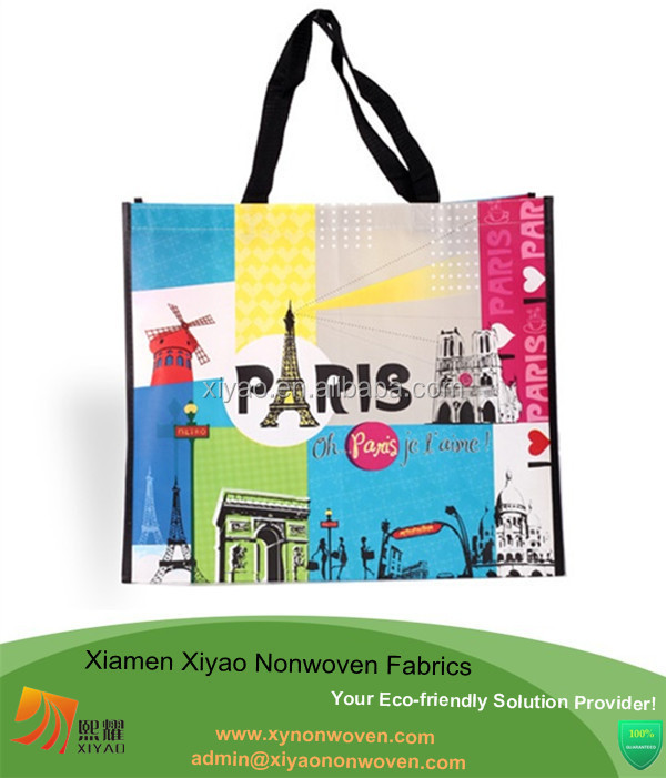 Pp laminated totes shoulder bag polypropylene shopping bags