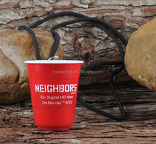 100% BPA free double wall Red cup 2oz shot glass with lanyard
