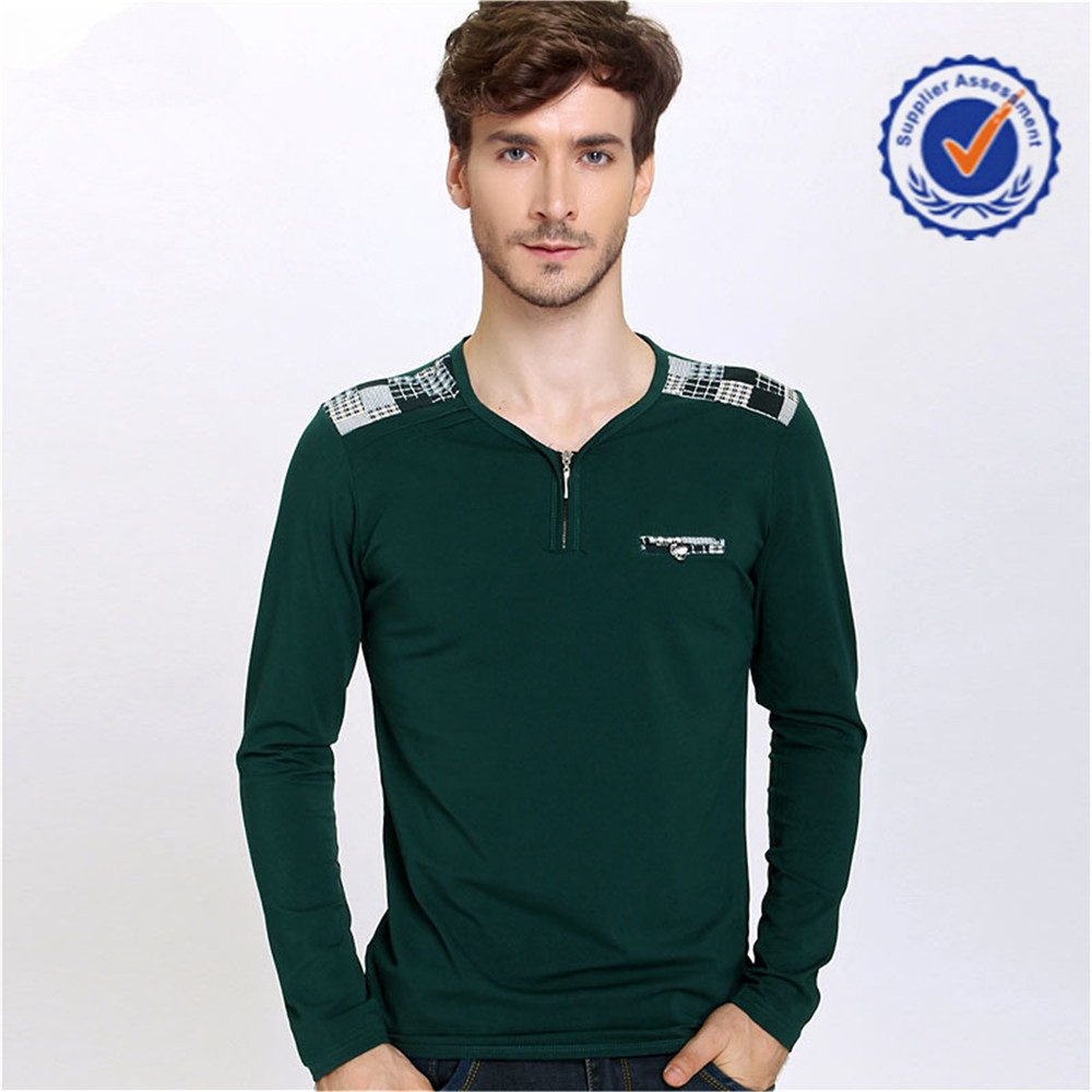 Fashional Color New Style Long Sleeve T.Shirt Men With Epaulet
