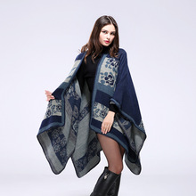 SF17212013 Cashmere Poncho Scarf Coat Women Big Pashmina Flower Pattern Winter Warm Shawls Wraps