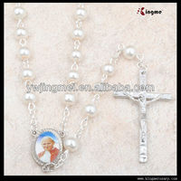 8mm Round Pearl Glass Rosary Prayer Beads Necklace