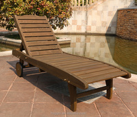 outdoor wooden swimming pool lounge chair