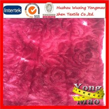 2015 Huzhou manufacturer buy cheap red long fur low pile plush fabric