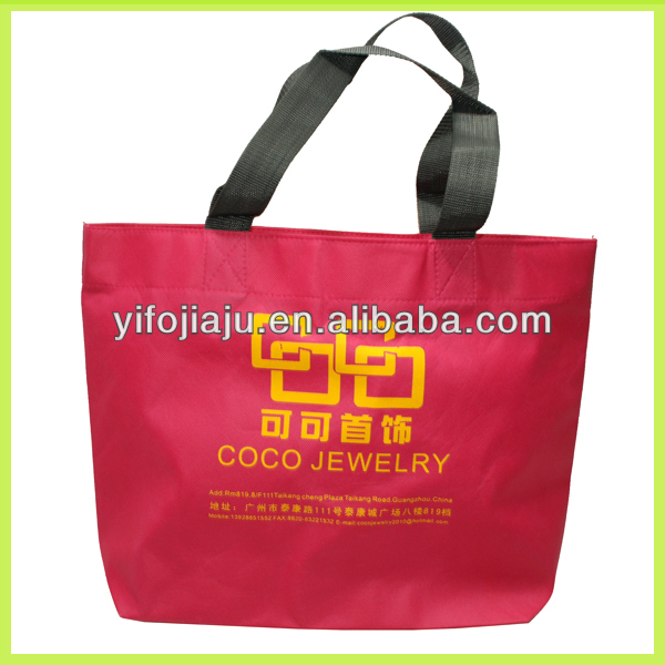 Recycled full color printing pp non woven shopping bag with self fabric handles