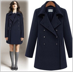 EY0216A New Desgin British military uniform wind double-breasted lady wool coat with Epaulette pocket