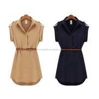 2016 Women Mini Shirt Dress With Belt D6314