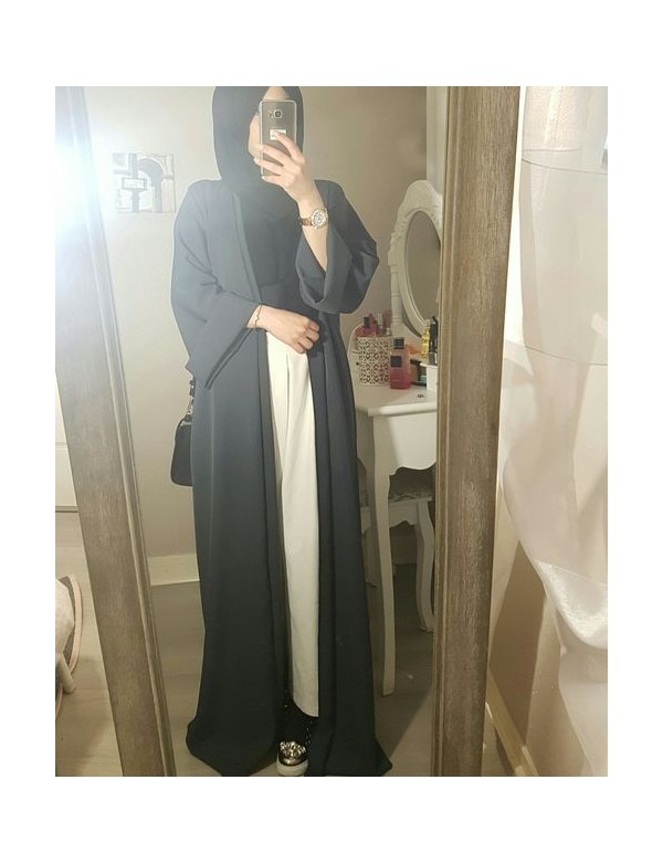 New Style Western Simple Muslim Long Dress In Malaysia Open Front Abaya Kimono Models Dubai