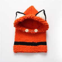 photography props Cute orange fox hand made knitted hats for kids