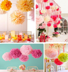 Colorful Artificial Craft Pom Poms Paper Flower Decoration