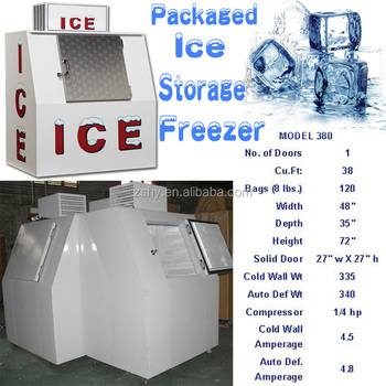 packaged ice storage freezer of manual defrost