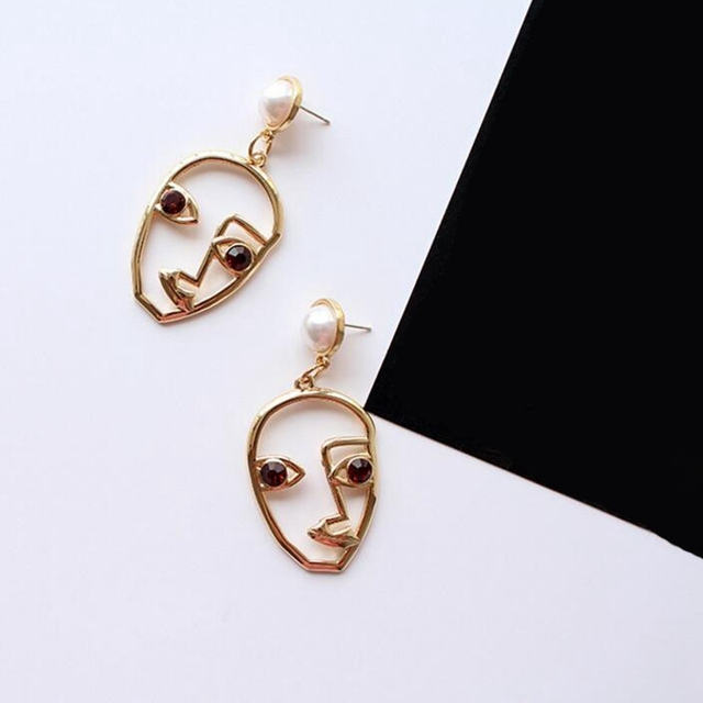 Unique Human Face Design Gold And Silver Earrings Saudi Gold Jewelry