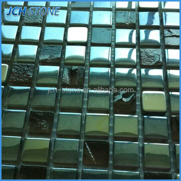 Special crackle small squares black glass mosaic tile