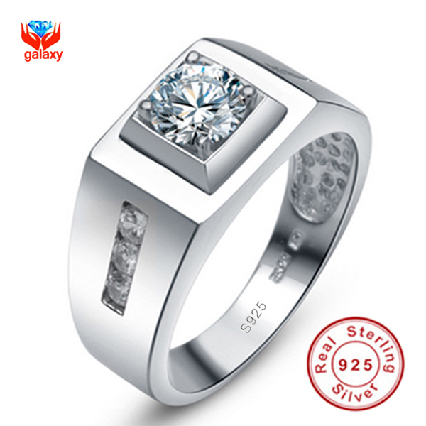 GALAXY Real 100% 925 Sterling Silver Lovers Ring Couple Fashion Jewelry 0.75ct CZ Diamond Wedding Rings For Men and Women YH018