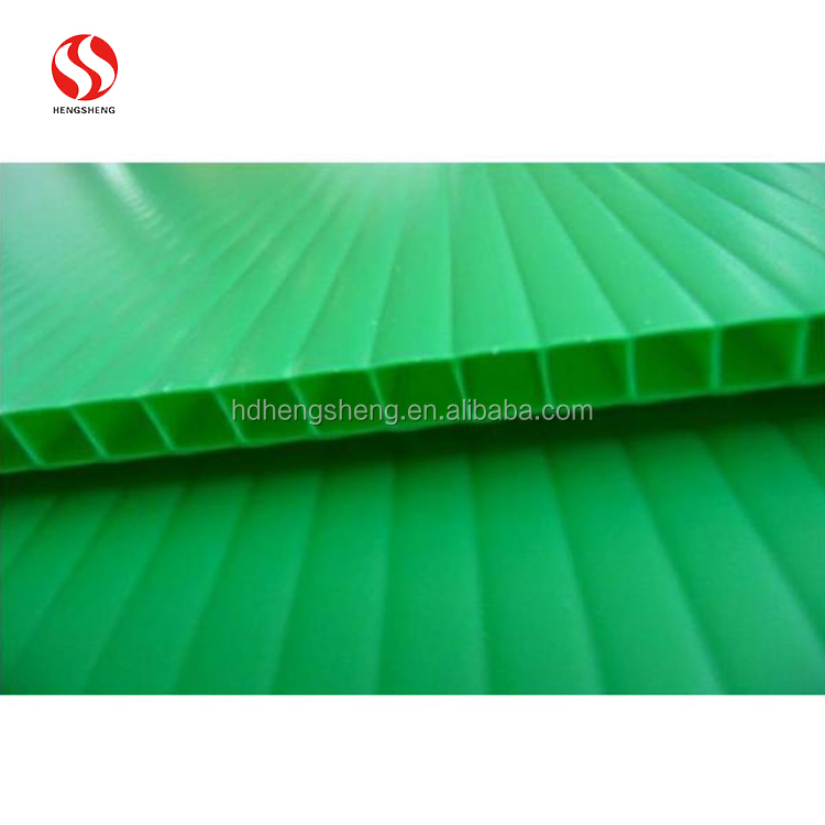 Green Plastic PP Hollow polypropylene Sheet For Decoration