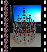 "women accessories 2018 fancy adult crowns and tiaras 8"" tall clear with red big wedding crown"